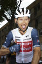 Netherland's Bauke Mollema celebrates winning the fourteenth stage of the Tour de France cycling race over 183.7 kilometers (114.1 miles) with start in Carcassonne and finish in Quillan, France,Saturday, July 10, 2021. (Michael Steele/Pool Photo via AP)