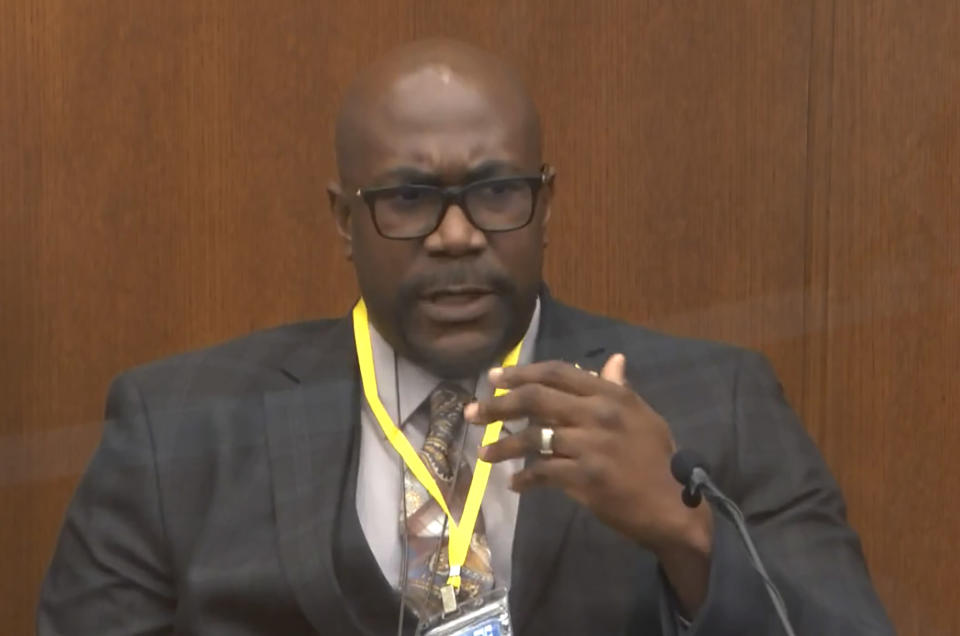 In this image from video, Philonise Floyd, brother of George Floyd, testifies as Hennepin County Judge Peter Cahill presides over court Monday, April 12, 2021, in the trial of former Minneapolis police Officer Derek Chauvin, in the May 25, 2020, death of George Floyd at the Hennepin County Courthouse in Minneapolis, Minn. (Court TV via AP, Pool)