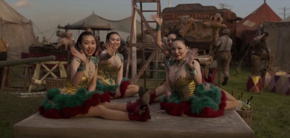 """There's four Chinese contortionists… the four girls that are playing them that are from Mongolia,"" says costume designer Colleen Atwood. ""They've learned a little bit of English, but they're totally Chinese speaking, and lovely girls."" (Disney)"