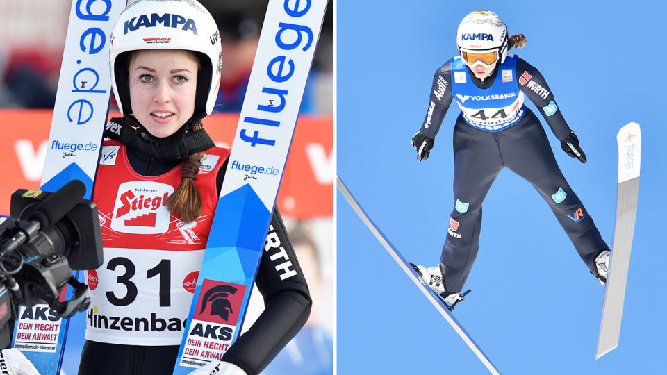 Juliane Seyfarth, pictured here in action for Germany at the ski-jumping world championships.