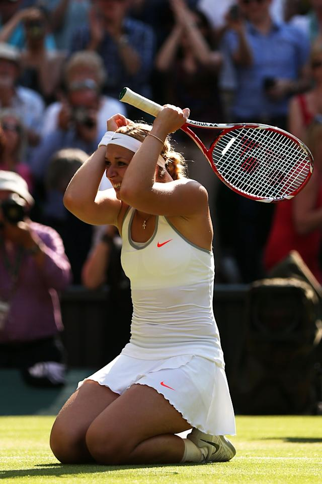 LONDON, ENGLAND - JULY 04: Sabine Lisicki of Germany celebrates victory during the Ladies' Singles semi final match against Agnieszka Radwanska of Poland on day ten of the Wimbledon Lawn Tennis Championships at the All England Lawn Tennis and Croquet Club on July 4, 2013 in London, England. (Photo by Clive Brunskill/Getty Images)