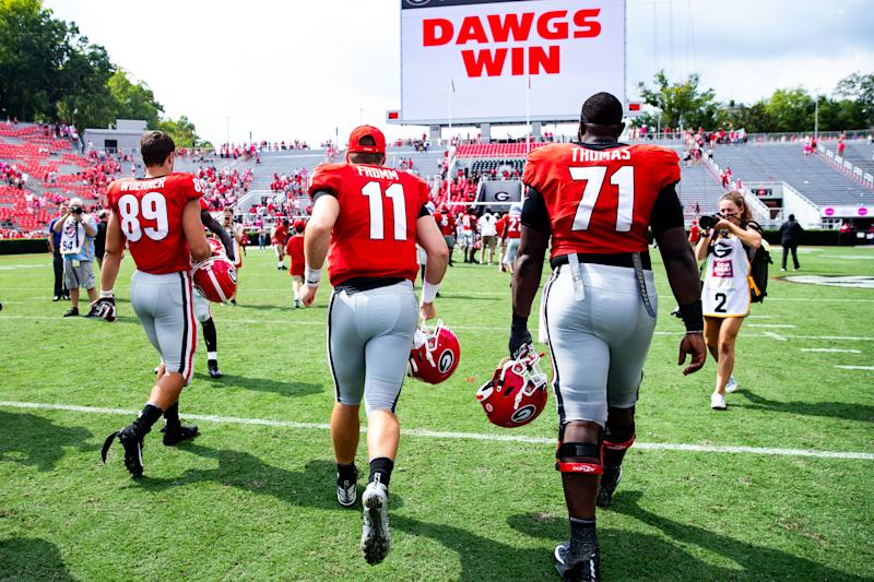 Georgia QB Jake Fromm and OT Andrew Thomas have big matchups this weekend vs. Notre Dame. (Getty Images)