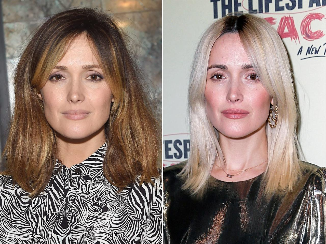 The actress looked almost unrecognizable when she stepped out to support the opening night of husbandBobby Cannavale's Broadway show,<em>The Lifespan of a Fact</em>, with platinum blonde hair and deep roots.