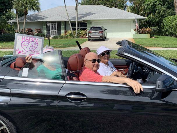 PHOTO: Old friends and former neighbors lined up in their cars for a surprise 73rd wedding anniversary parade for Joe and Yolanda Tenaglio in Naples, Fla., on May 3, 2020. (Courtesy Maureen Arpin)
