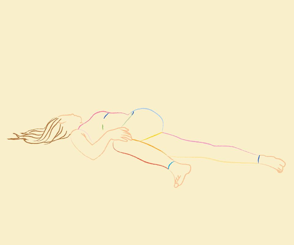 <strong><h2>Reclining Twist</h2></strong><br><strong>What it helps:</strong> This exercise stretches the back, chest, and glutes.<br><br><strong>How to do it: </strong>Start by laying on your back. Bring your right knee in towards your chest. Place your left hand on the outside of your right knee. Extend your left arm out to the left, palm up, and slowly bring your right knee across your body towards the floor on the right. Your right knee does not need to touch the floor. Hold on each side for 30-60 seconds and repeat one to two times.