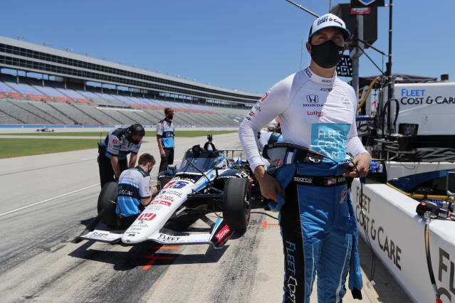 Graham Rahal prepares to practice for the IndyCar auto race at Texas Motor Speedway in Fort Worth, Texas, Saturday, June 6, 2020. (AP Photo/Tony Gutierrez)