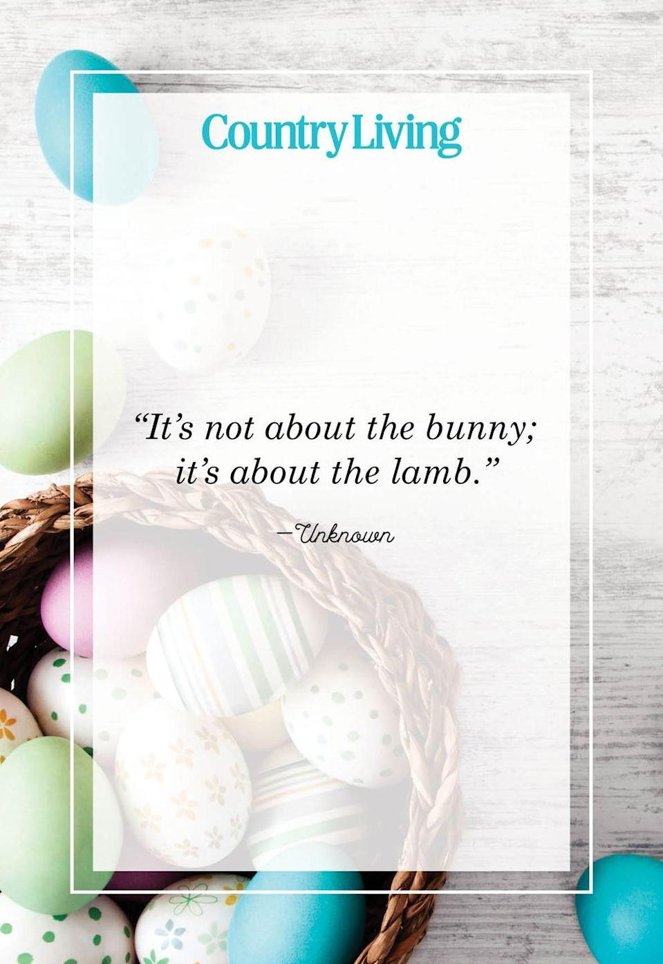 """<p>""""It's not about the bunny; it's about the lamb.""""</p>"""