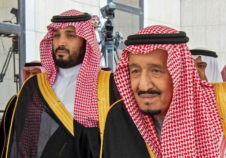 Saudi Arabia's King Salman (R) and Crown Prince Mohammed bin Salman, pictured in November 2019, sent congratulatory messages to US president-elect Joe Biden and vice-president-elect Kamala Harris