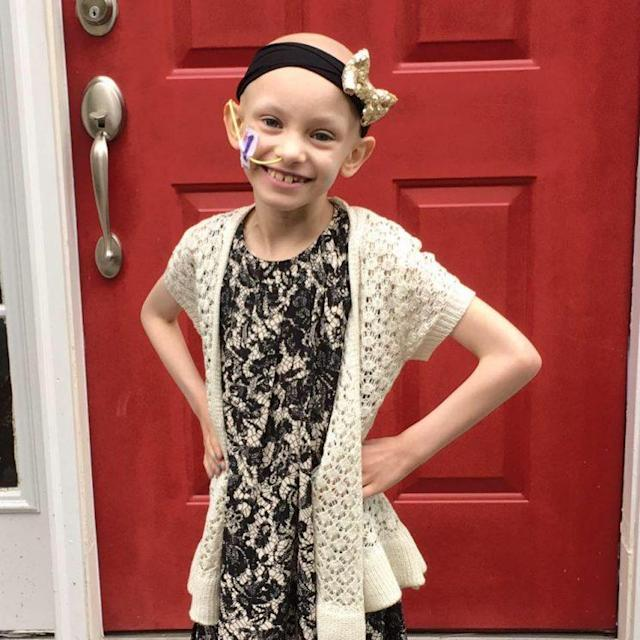 7-year-old Sophi Eber shared a before and after cancer treatment photo and it went viral. (Photo: Facebook)
