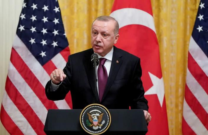 FILE PHOTO: U.S. President Donald Trump and Turkey's President Tayyip Erdogan hold joint news conference at the White House in Washington