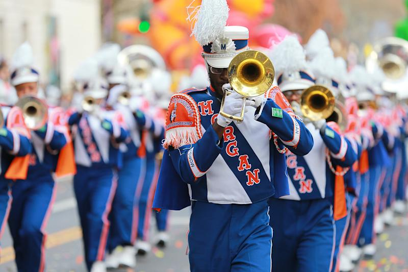 "The Morgan State University Magnificent Marching Machine performs the medley of ""Everybody Dance"" during the 93rd Macy's Thanksgiving Day Parade. The Magnificent Marching Machine is a band with high-stepping choreography, dynamic arrangements of traditional and popular music, intricate rhythms, a creative flagline and stunning dancers. The band, also known as M3, has performed at the White House, in Chris Rock's movie Head of State and at many sporting events and band competitions. (Photo: Gordon Donovan/Yahoo News)"