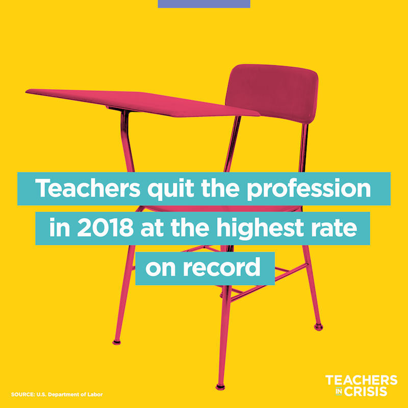 According to a report by the U.S. Department of Labor, teachers left the profession in 2018 in numbers never seen before. (Photo illustration: Quinn Lemmers/Yahoo Lifestyle)