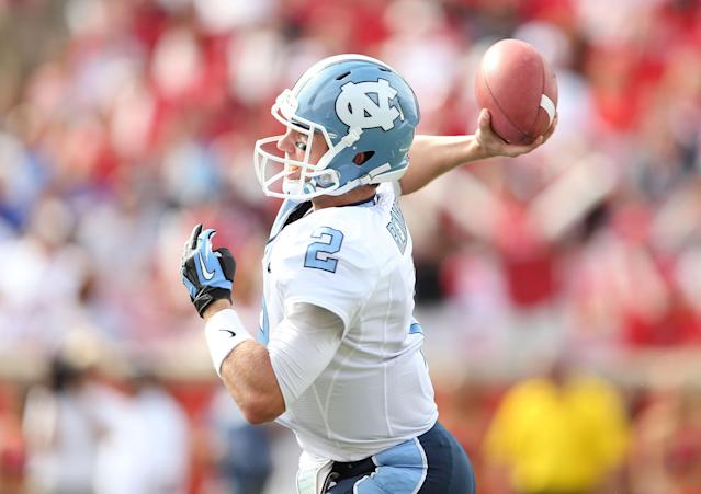 LOUISVILLE, KY - SEPTEMBER 15: Bryn Renner #2 of the North Carolina Tar Heels throws a pass during the game against the Louisville Cardinals at Papa John's Cardinal Stadium on September 15, 2012 in Louisville, Kentucky. (Photo by Andy Lyons/Getty Images)