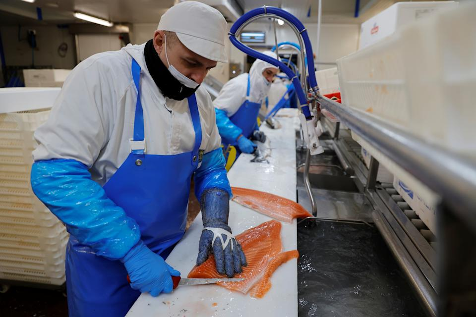 According to the Food and Drink Federation, among the hardest hit export foodstuffs were salmon, which saw a 98% dip from the year earlier; beef, which fell by 91.5% and cheese which also decline 85.1%. Photo: Pascal Rossignol/Reuters