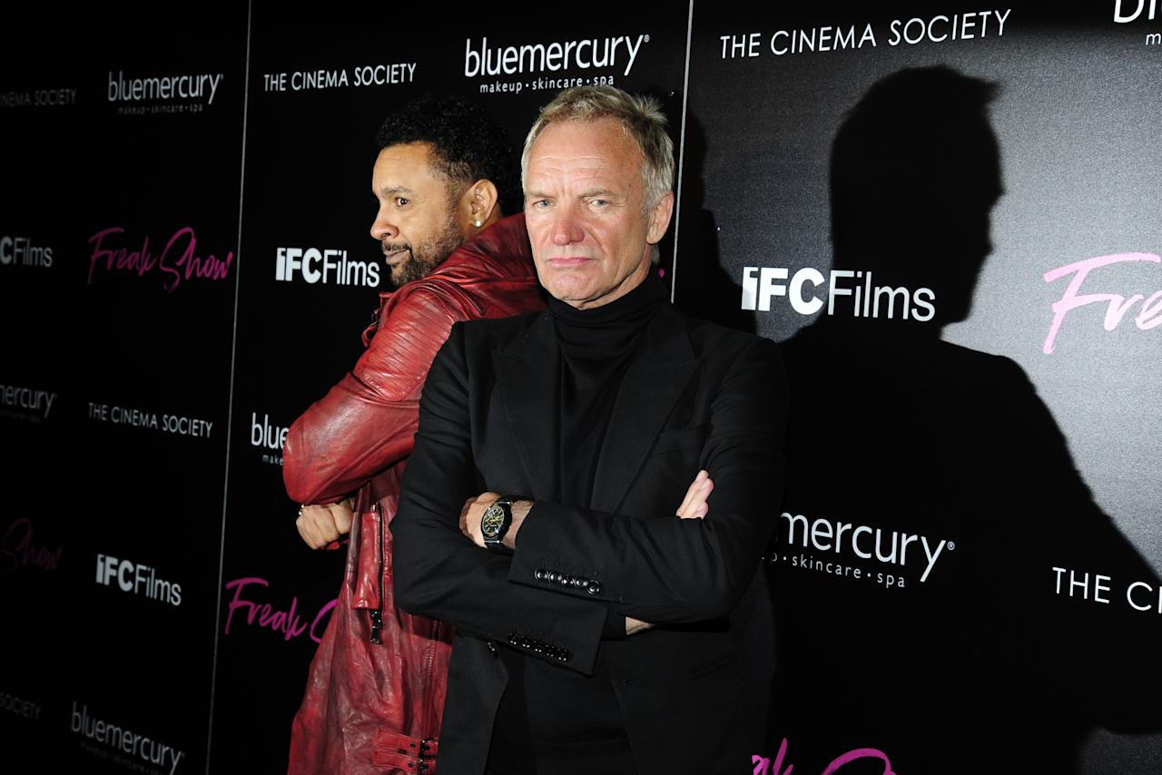 "Shaggy and Sting attend The Cinema Society & Bluemercury host the premiere of IFC Films' ""Freak Show"" at Landmark Sunshine Cinema on January 10, 2018. Photo - Paul Bruinooge/PatrickMcMullan.com."