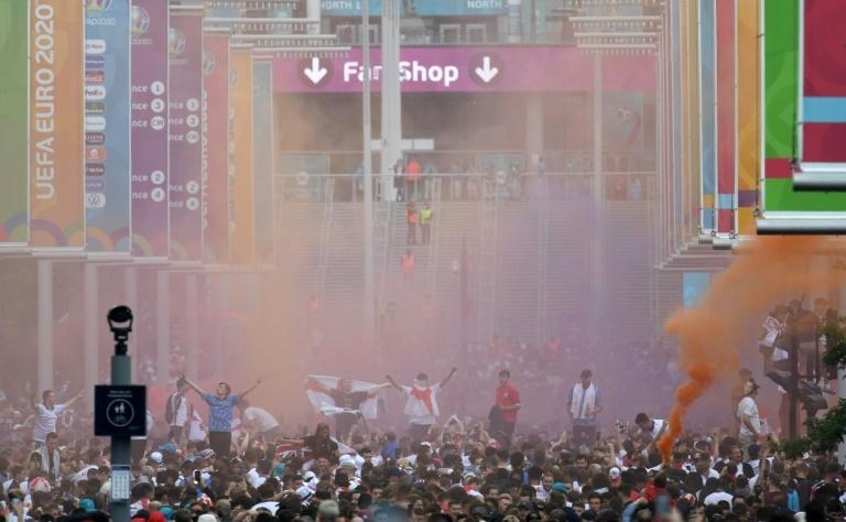 Supporters outside Wembley Stadium ahead of the Euro 2020 final between England and Italy