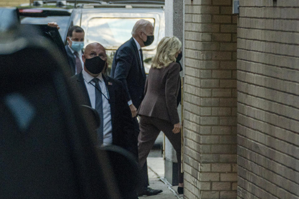 """President Joe Biden accompanies first lady Jill Biden to an appointment for a """"common medical procedure"""" at an outpatient center in Washington, Wednesday, April 14, 2021. The Bidens were scheduled to go to an outpatient center in downtown Washington, which the White House did not identify. (AP Photo/Andrew Harnik)"""