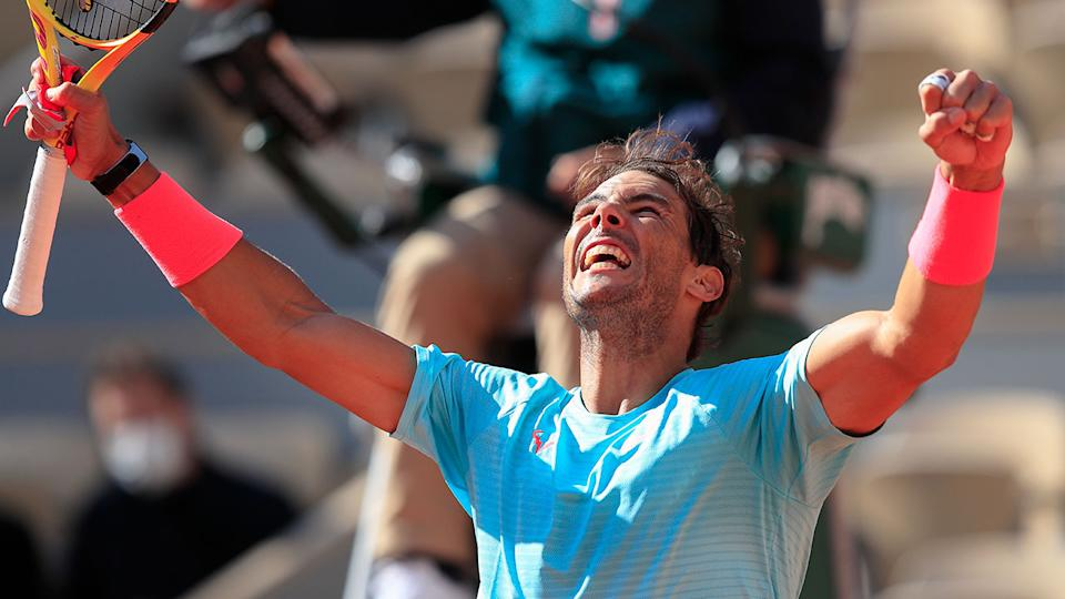 Rafael Nadal can be seen celebrating a victory at the 2020 French Open.