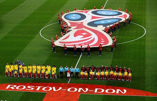 Soccer Football - World Cup - Group E - Brazil vs Switzerland - Rostov Arena, Rostov-on-Don, Russia - June 17, 2018 Teams line up before the match REUTERS/Jason Cairnduff