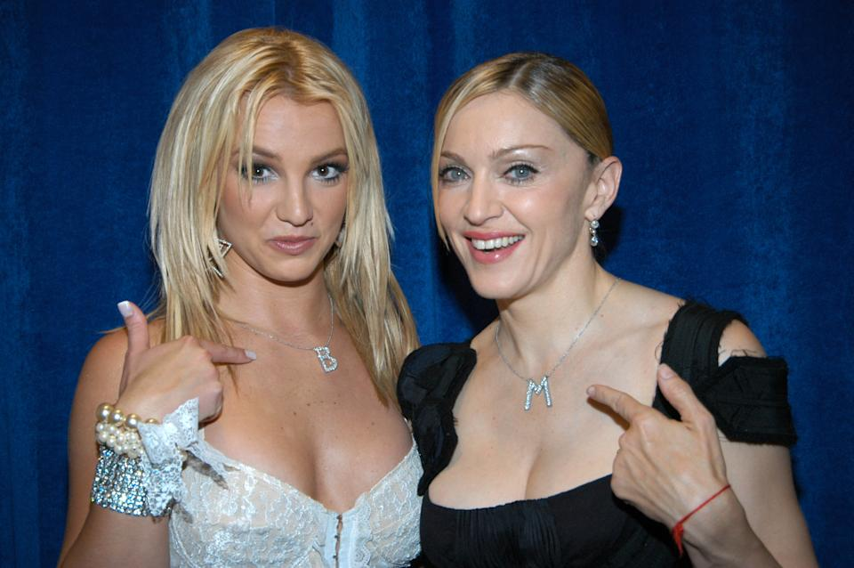Britney Spears and Madonna (Photo by Kevin Mazur/WireImage)