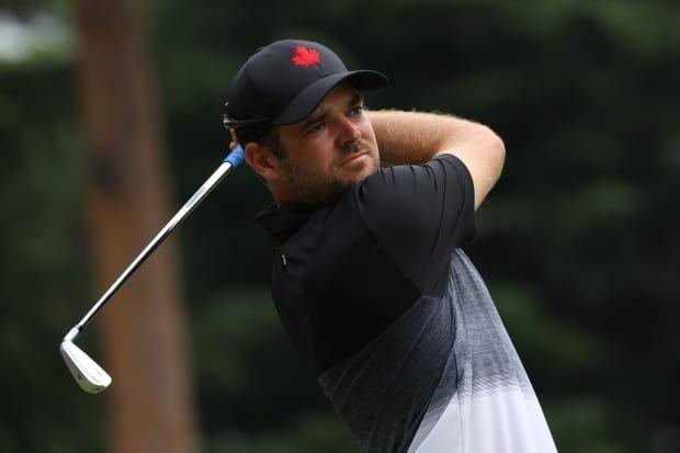 KAWAGOE, JAPAN - JULY 29: Corey Conners of Team Canada plays his shot from the seventh tee during the first round of the Men's Individual Stroke Play on day six of the Tokyo 2020 Olympic Games at Kasumigaseki Country Club on July 29, 2021 in Kawagoe, Saitama, Japan.  (Chris Trotman/Getty Images - image credit)