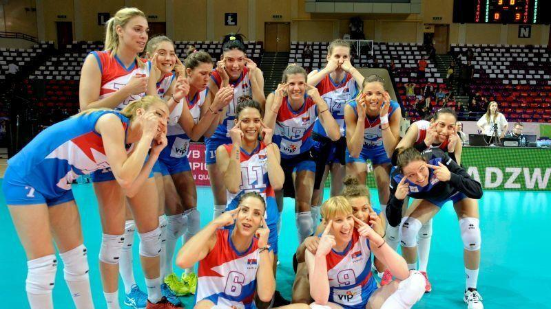 """The Serbian women&rsquo;s volleyball team after their win against Poland. (Photo: <a href=""""http://www.fivb.org/en/Volleyball/viewPressRelease.asp?No=68159&Language=en"""" target=""""_blank"""">FIVB</a>)"""