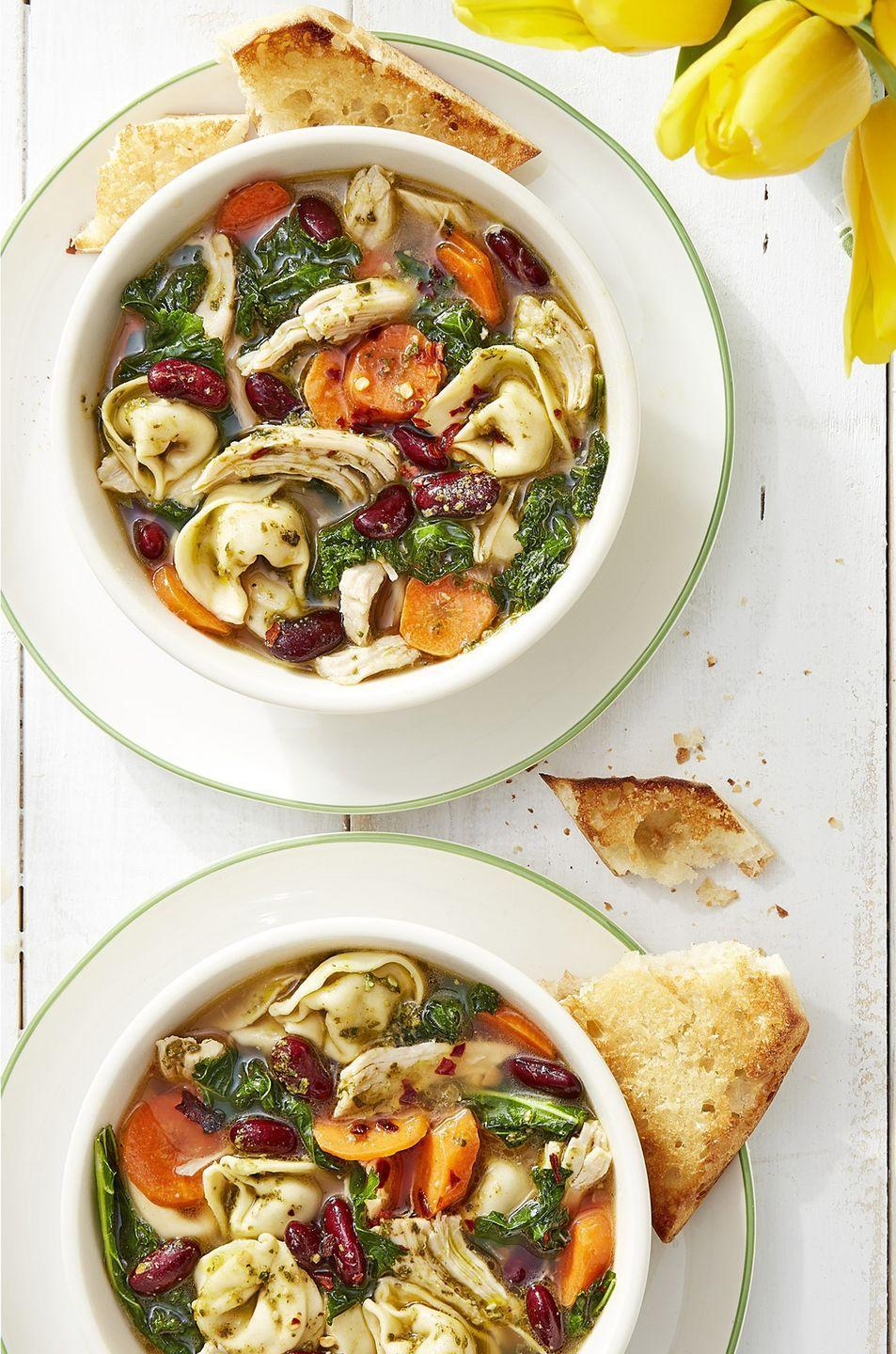 "<p>Keep this recipe around for when you want to turn pesto and tortellini into something other than a plate of pasta. </p><p><strong><a href=""https://www.countryliving.com/food-drinks/a16571977/pesto-chicken-minestrone-recipe/"" rel=""nofollow noopener"" target=""_blank"" data-ylk=""slk:Get the recipe"" class=""link rapid-noclick-resp"">Get the recipe</a>.</strong></p><p><a class=""link rapid-noclick-resp"" href=""https://www.amazon.com/Cook-Home-Stainless-Stockpot-Saucepot/dp/B012OIVV1C/?tag=syn-yahoo-20&ascsubtag=%5Bartid%7C10050.g.3569%5Bsrc%7Cyahoo-us"" rel=""nofollow noopener"" target=""_blank"" data-ylk=""slk:SHOP SOUP POTS"">SHOP SOUP POTS</a></p>"