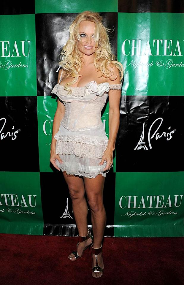 "Pamela Anderson -- who turned 44 at the beginning of July -- recently celebrated her birthday at Sin City's Chateau Nightclub in a dingy-looking, lingerie-inspired corset dress and metallic heels. And from the look on the former ""Baywatch"" babe's face, it seems like she wasn't a fan of the crumpled frock either. Angela Weiss/<a href=""http://www.wireimage.com"" target=""new"">WireImage.com</a> - July 30, 2011"
