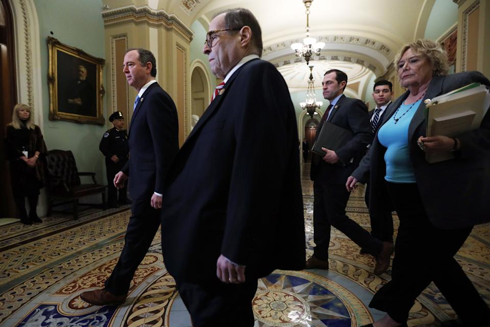WASHINGTON, DC - JANUARY 23: U.S. House impeachment managers (L-R) Rep. Adam Schiff (D-CA), Rep. Jerry Nadler (D-NY), Rep. Jason Crow (D-CO) and Rep. Zoe Lofgren (D-CA) arrive at the Senate side of the U.S. Capitol for the Senate impeachment trial against President Donald Trump at the U.S. Capitol January 23, 2020 in Washington, DC. House Democrats continues opening arguments on day 3 of the Senate impeachment trial.  (Photo by Alex Wong/Getty Images)