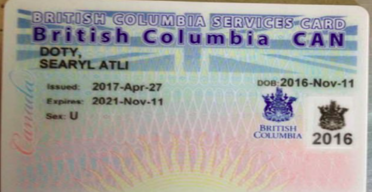 The health card for Searyl is marked U instead of male or female (Gender Free ID Coalition)