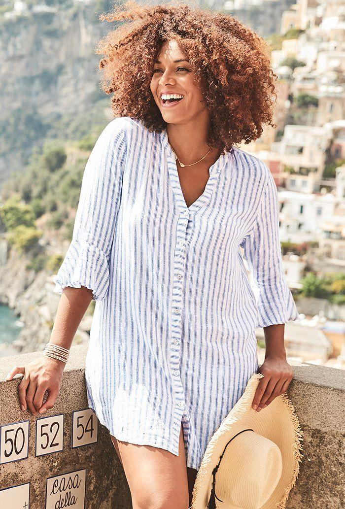 Sandra Elba Blue Striped Button Up Shirt. Image via Swimsuits for All.