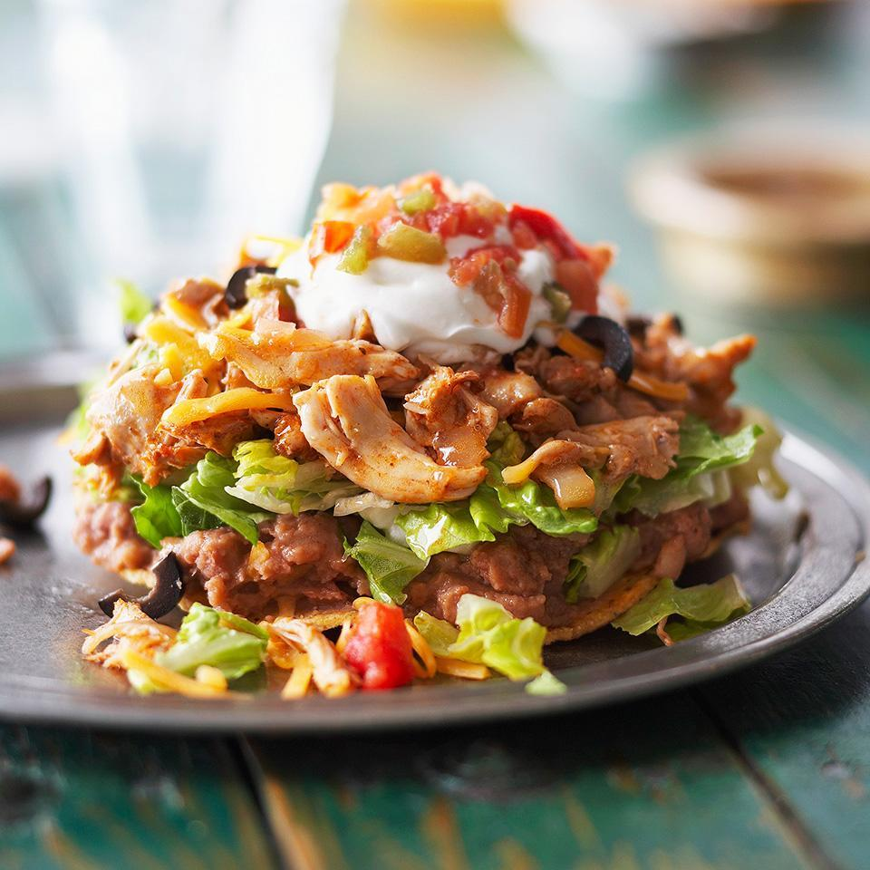 <p>Here's a low calorie Tex-Mex one-dish recipe. It has chicken, beans, salad and a tortilla all stacked up on one plate.</p>