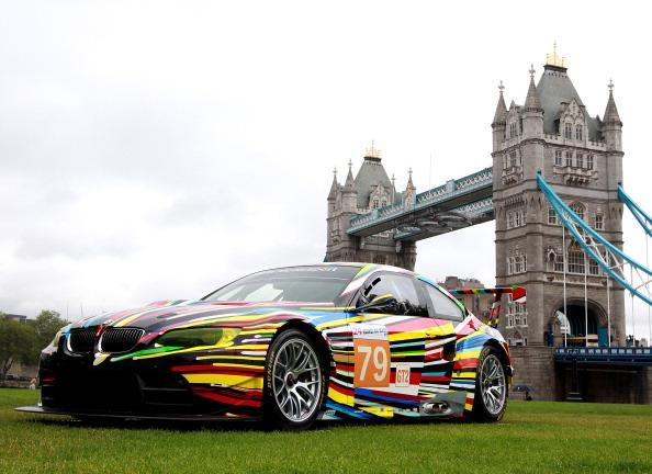 LONDON, ENGLAND - JULY 3: The M3 GT2 car transformed by Artist Jeff Koons is displayed during the launch of BMW Art Car at Potters Field on July 3, 2012 in London, England. (Photo by Jan Kruger/Getty Images for BMW)