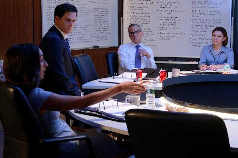 Lisa Page (Oona Chaplin), left, Peter Strzok (Steven Pasquale), Michael Kelly (Andrew McCabe) and Trisha Anderson (Amy Seimetz) are members of FBI Director James Comey's team in Showtime's 'The Comey Rule.'