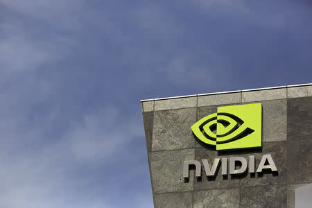 FILE PHOTO: The logo of technology company Nvidia is seen at its headquarters in Santa Clara, California February 11, 2015. REUTERS/Robert Galbraith/File Photo