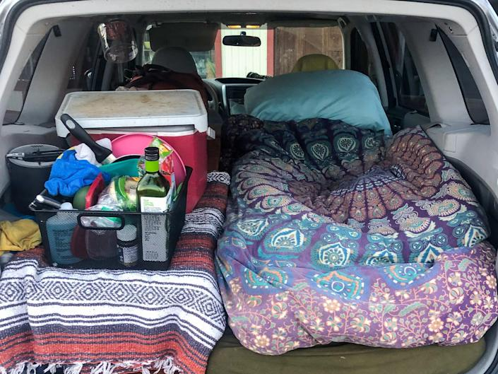 truck of a subaru forester packed with supplies for van life nicole jordan