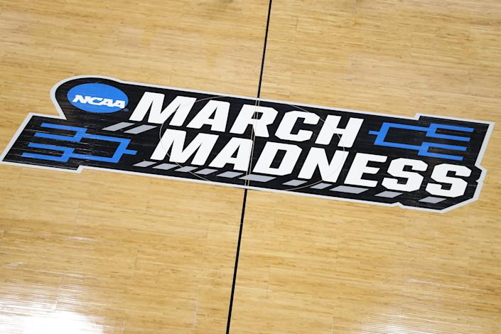 SALT LAKE CITY, UTAH - MARCH 20:  A general view of a 'March Madness' logo is seen during practice before the First Round of the NCAA Basketball Tournament at Vivint Smart Home Arena on March 20, 2019 in Salt Lake City, Utah. (Photo by Patrick Smith/Getty Images)