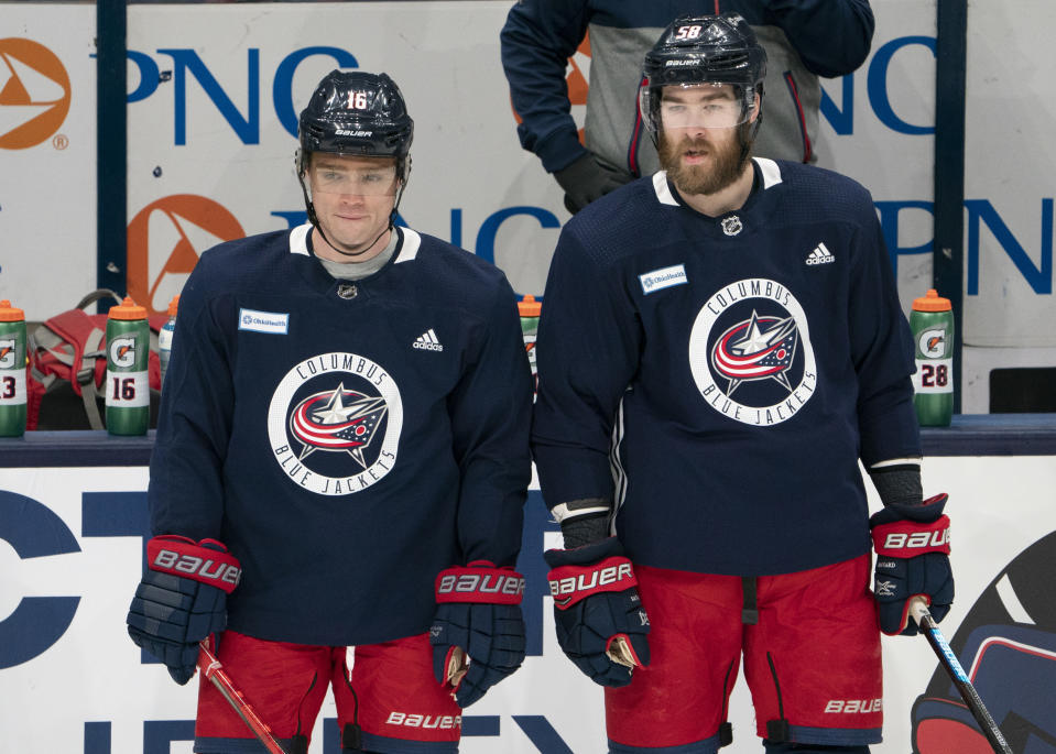 COLUMBUS, OH - JANUARY 04: Max Domi #16 of the Columbus Blue Jackets and David Savard #58 of the Columbus Blue Jackets during training camping held at Nationwide Arena in Columbus, Ohio on January 4, 2021. (Photo by Jason Mowry/Icon Sportswire via Getty Images)