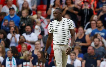FILE PHOTO: Soccer Football - Soccer Aid 2018 - England v Soccer Aid World XI - Old Trafford, Manchester, Britain - June 10, 2018 Usain Bolt before the match REUTERS/Phil Noble/File Photo