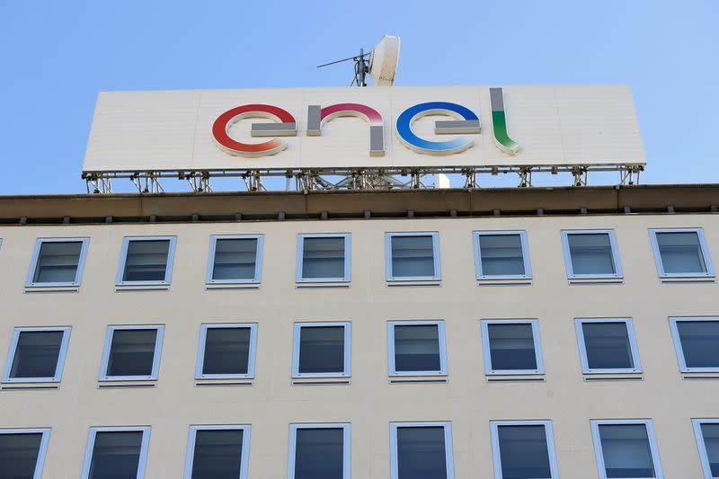 A logo of Italian multinational energy company Enel is seen in Milan