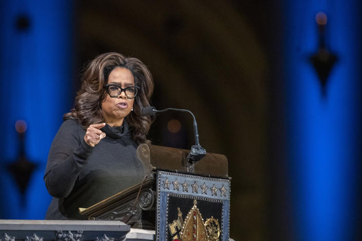 Oprah Winfrey speaks during the Celebration of the Life of Toni Morrison, Thursday, Nov. 21, 2019, at the Cathedral of St. John the Divine in New York. Morrison died in August at age 88. (AP Photo/Mary Altaffer)