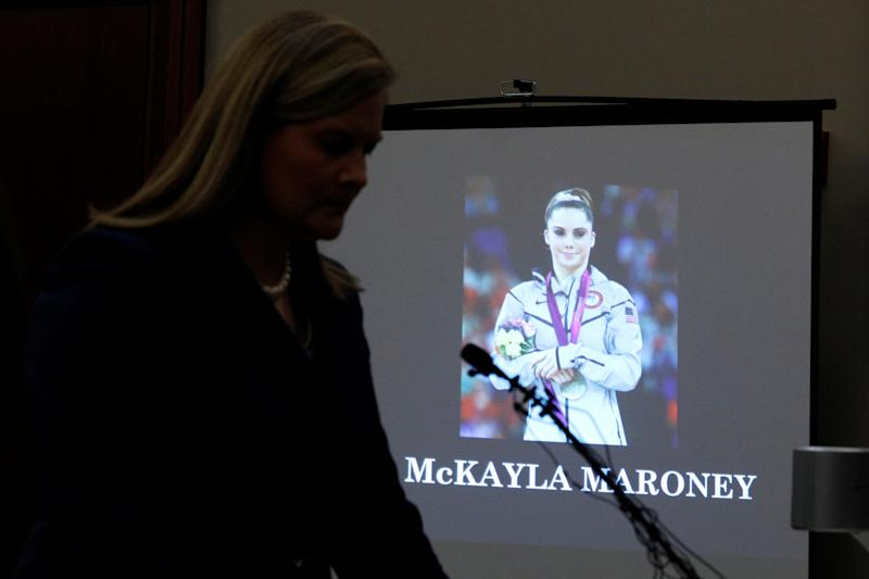 Prosecutor Angela Povilaitis reads Maroney's victim impact statement during Larry Nassar's sentence hearing on Thursday.  (Brendan McDermid / Reuters)