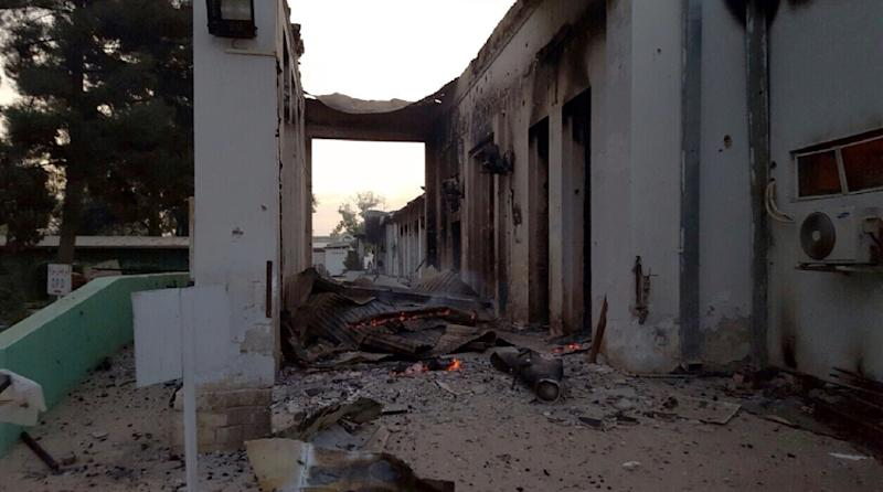 Wreckage smoulders in part of the MSF hospital in Kunduz on October 3, 2015 after it was hit by an air strike (AFP Photo/Medecins Sans Frontieres)