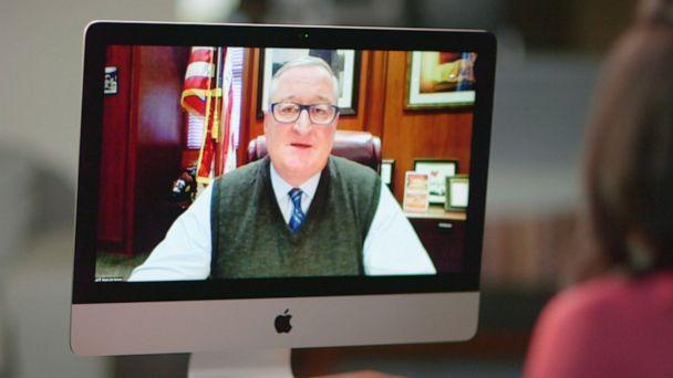 PHOTO: Philadelphia Mayor Jim Kenney talks with ABC News Anchor Linsey Davis on screen during a virtual interview. (ABC News)