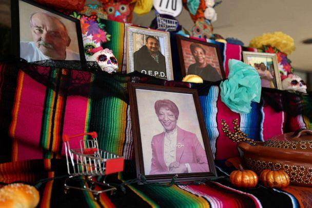 PHOTO: A Dia de los Muertos altar honoring UFCW Local 770 grocery, drug store, and food processing essential union workers who have died from the coronavirus disease sits on display in Los Angeles, Oct. 26, 2020. (Lucy Nicholson/Reuters)
