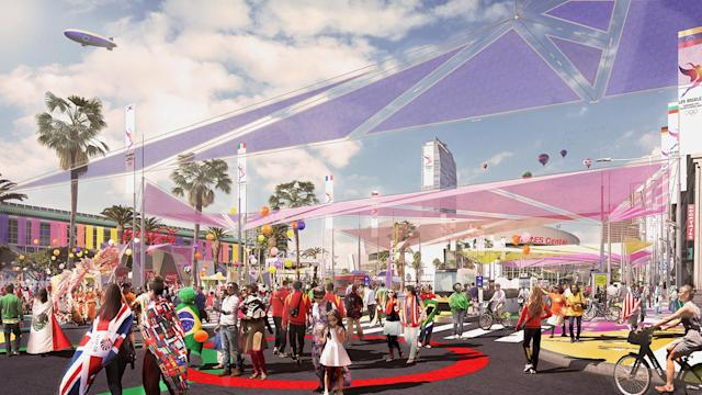 <p>Figueroa Corridor is shown in this Downtown Sports Park rendering. (Photo: Courtesy LA 2024) </p>