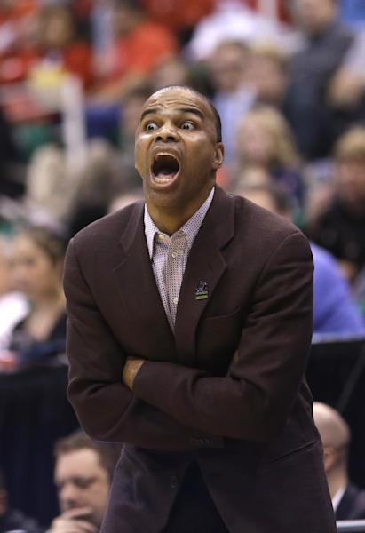 Harvard head coachTommy Amaker shouts to his team during a second-round game aginst New Mexico in the NCAA college basketball tournament in Salt Lake City Thursday, March 21, 2013. Harvard defeated New Mexico New Mexico 68-62. (AP Photo/Rick Bowmer)