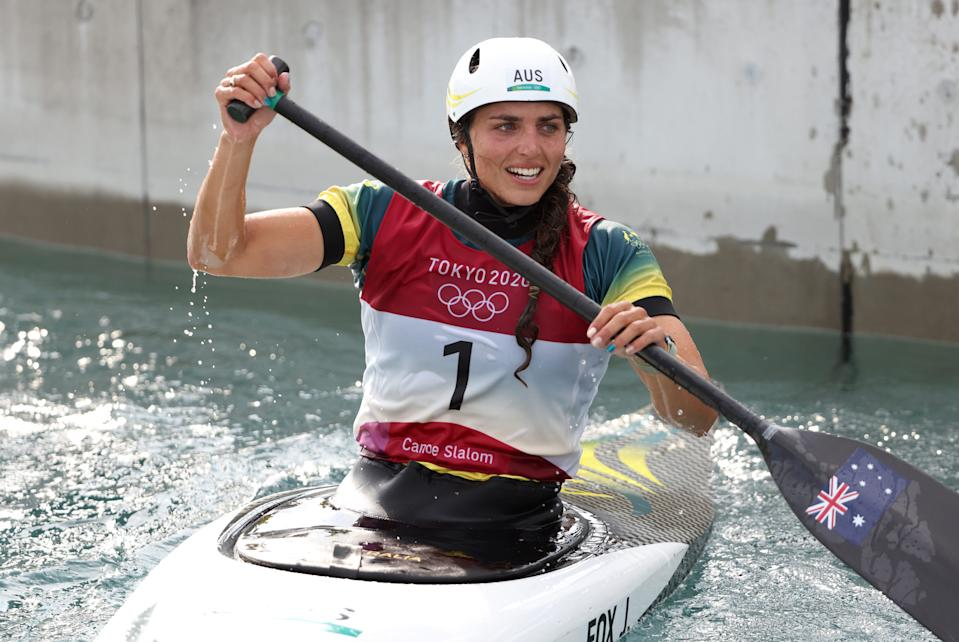 Jessica Fox of Team Australia in the Women's Canoe Slalom Final at the Tokyo 2020 Olympic Games.