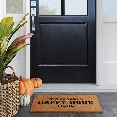 <p>The <span>It's Always Happy Hour Here Doormat</span> ($13) will make your guests giggle every time.</p>