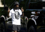 Carolina Panthers cornerback Donte Jackson arrives at the team's dormitory at NFL football training camp, Tuesday, July 27, 2021, at Wofford College in Spartanburg, S.C. (Jeff Siner/The Charlotte Observer via AP)